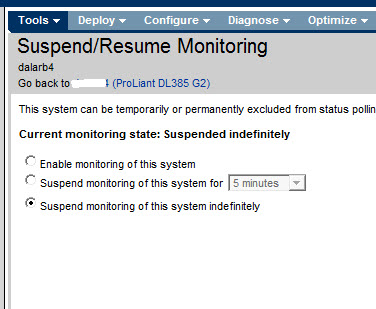suspend resume monitoring setting server to susp