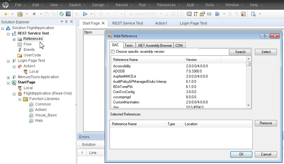 UFT IDE: Add references to your test solution