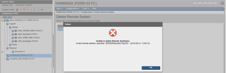 P2000 G3 - Unable to delete remote-system(s)  - Hewlett Packard