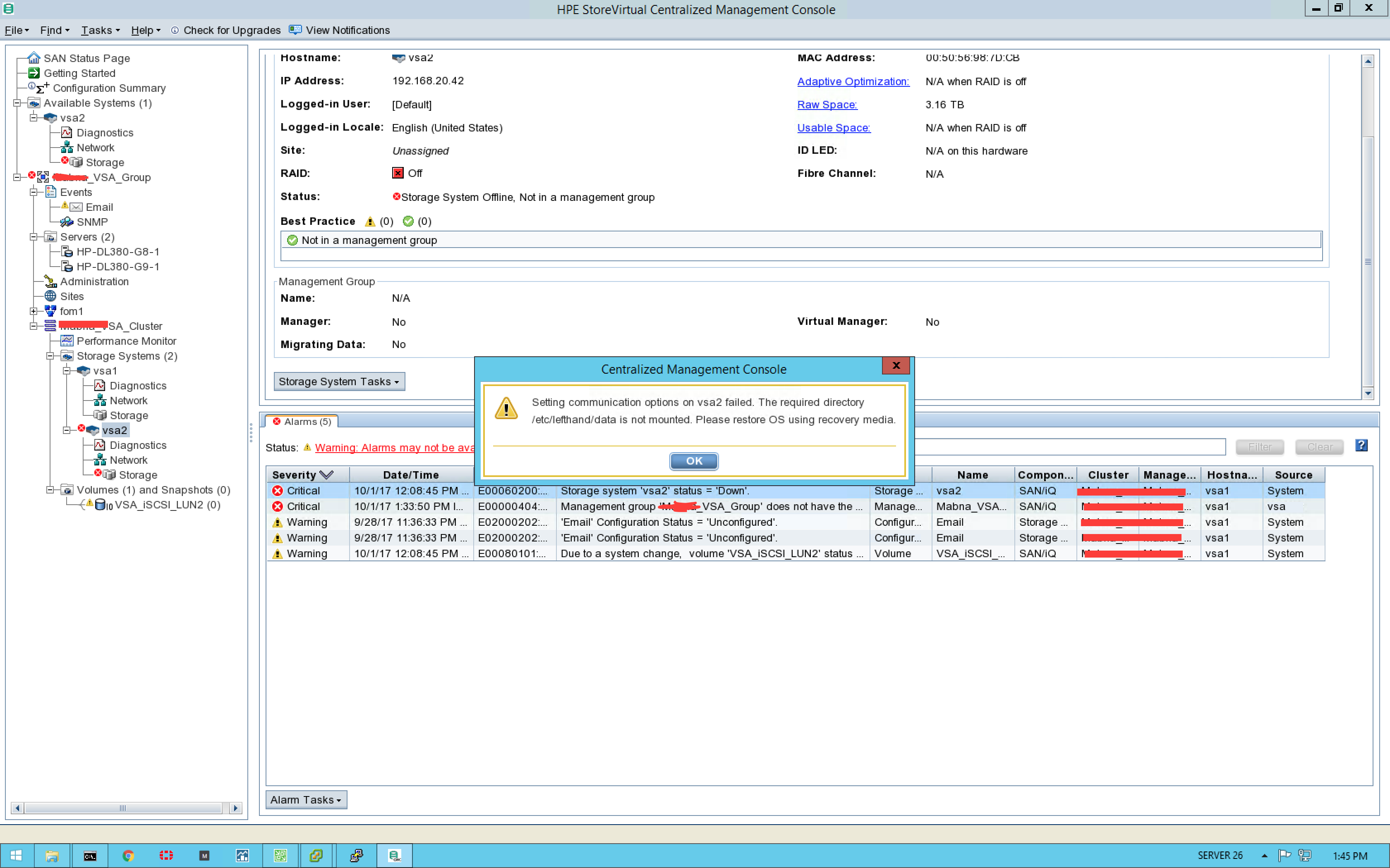 HP StoreVirtual VSA Storage RAID is off - Hewlett Packard Enterprise