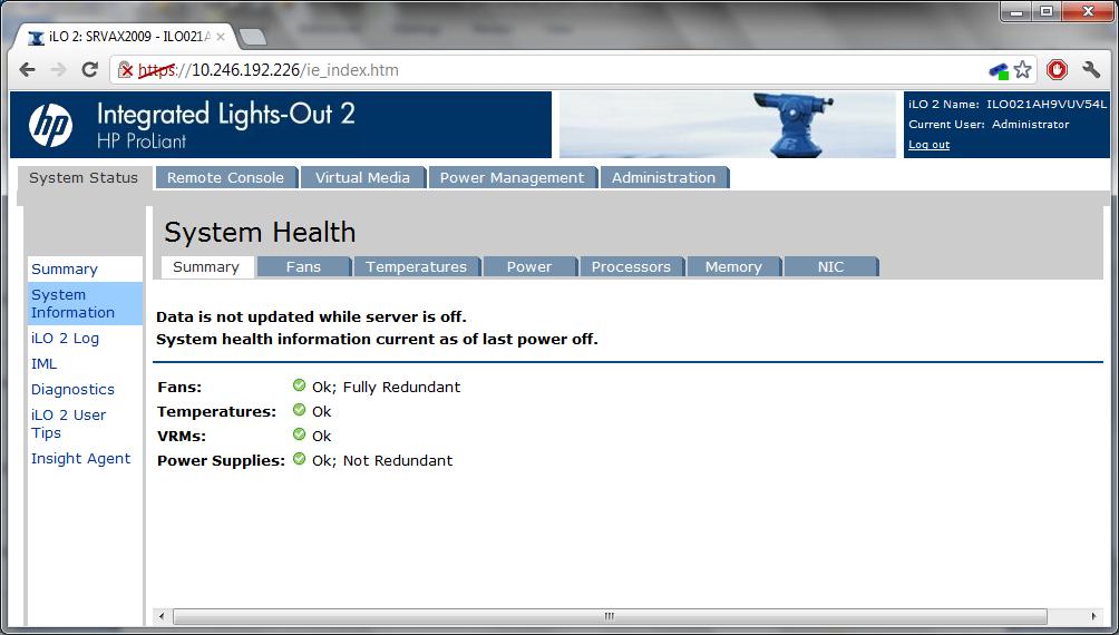 My server (DL380 G5) goes into standby randomly - Hewlett Packard