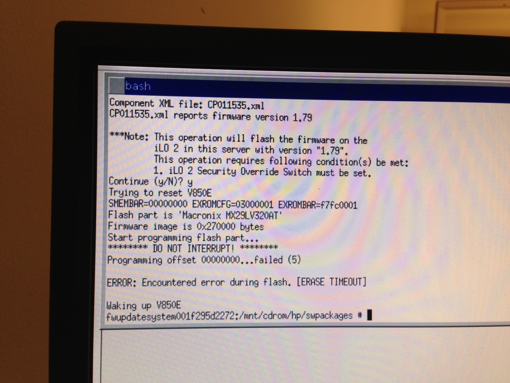 Recovery for non-functioning iLO2 firmware fails - Hewlett Packard