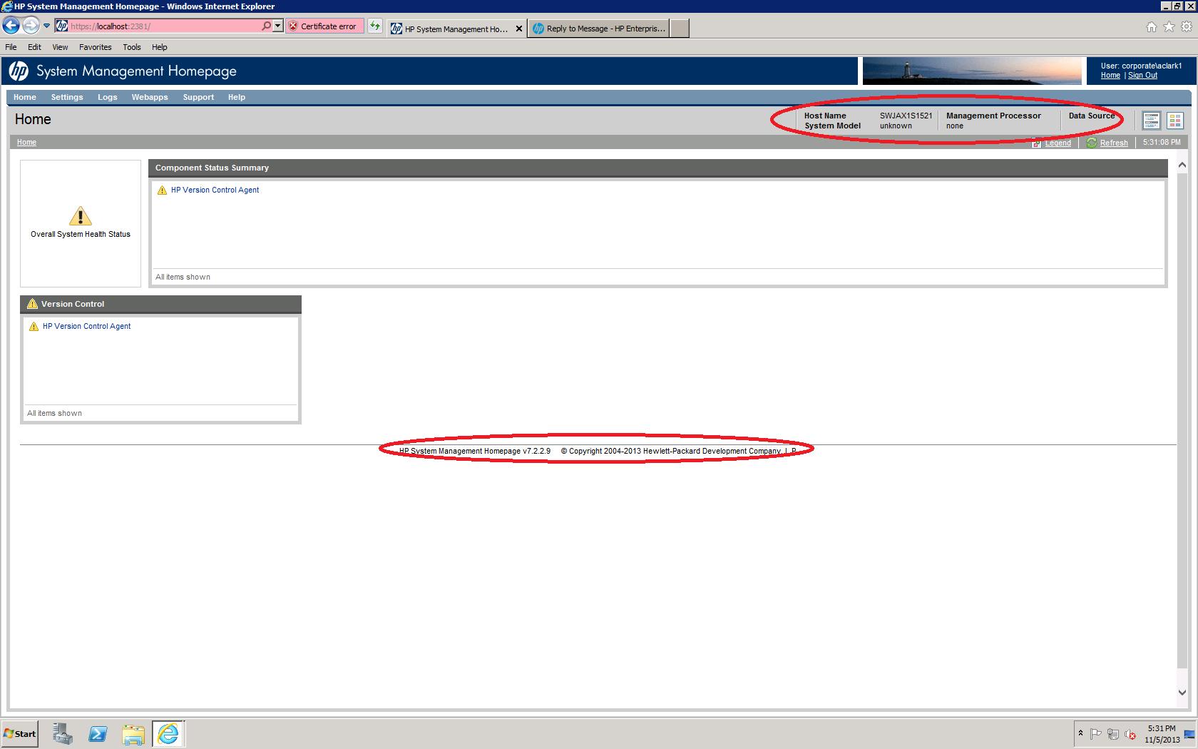 HP System Management Homepage Blank - Hewlett Packard Enterprise