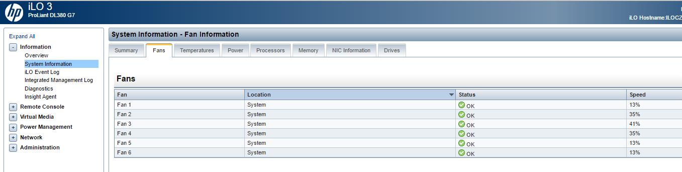 DL380 G7 - read fan speed via snmp - Hewlett Packard