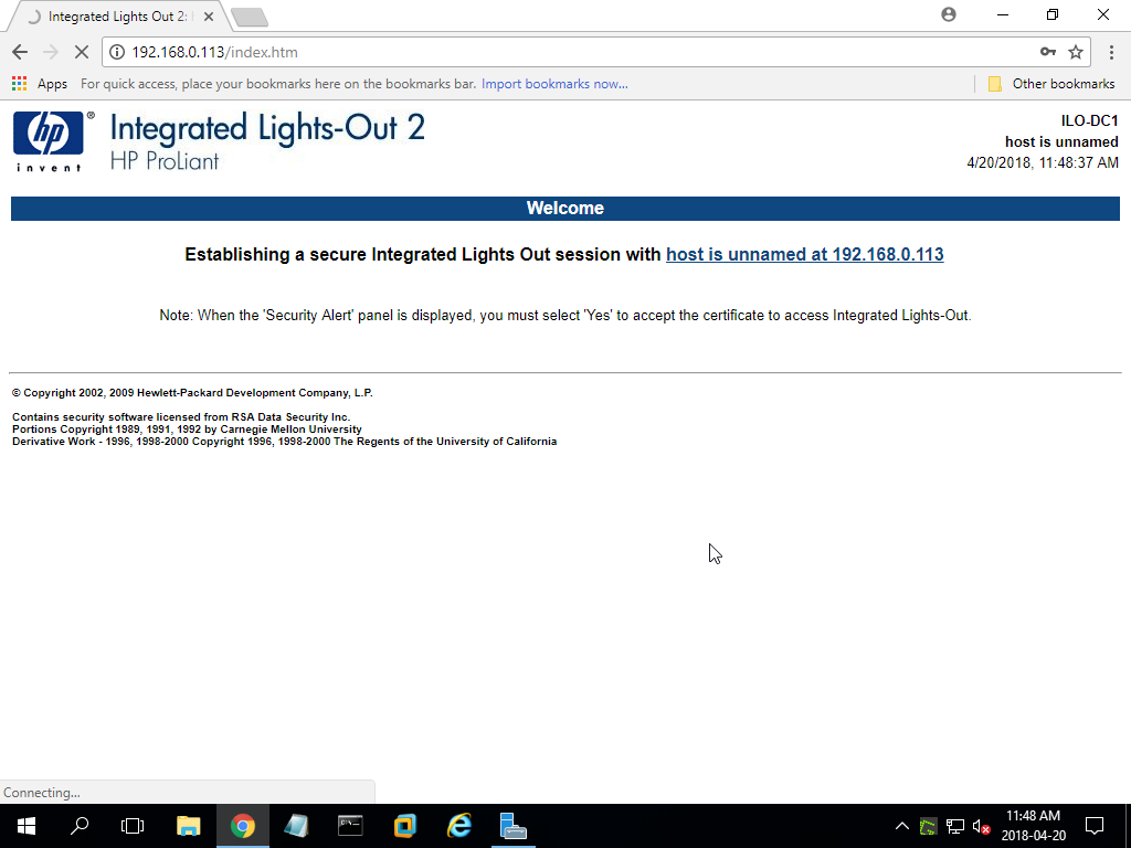 iLO2 is set up but I'm unable to log in  - Hewlett Packard