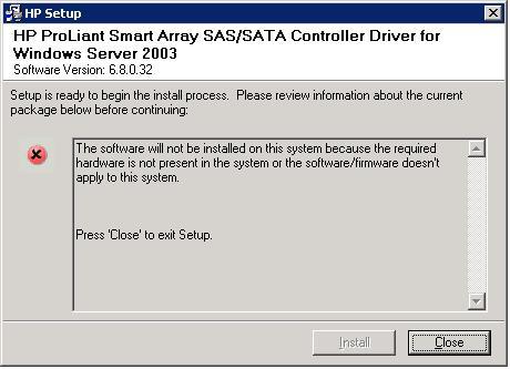HP ProLiant Smart Array SAS/SATA Controller Driver