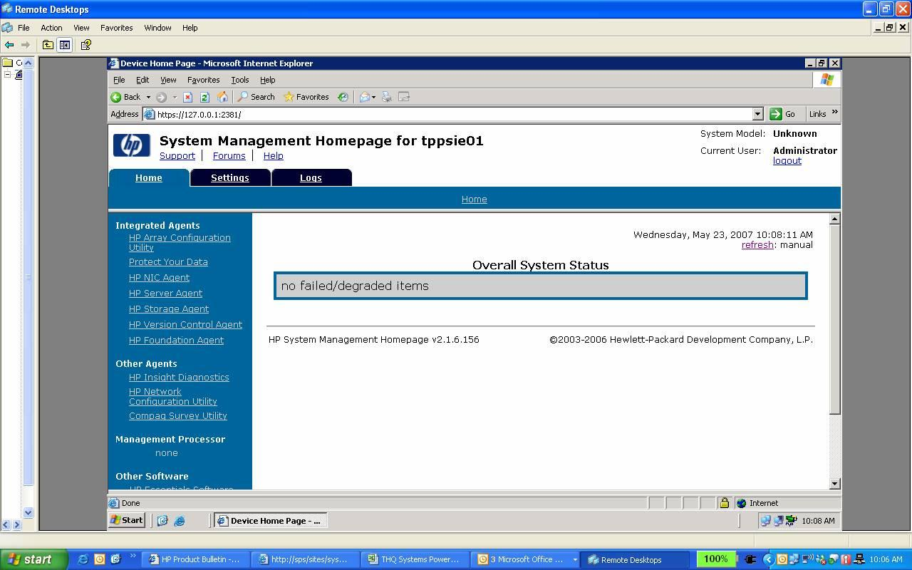 Solved: System Management Homepage and ILO - Hewlett Packard