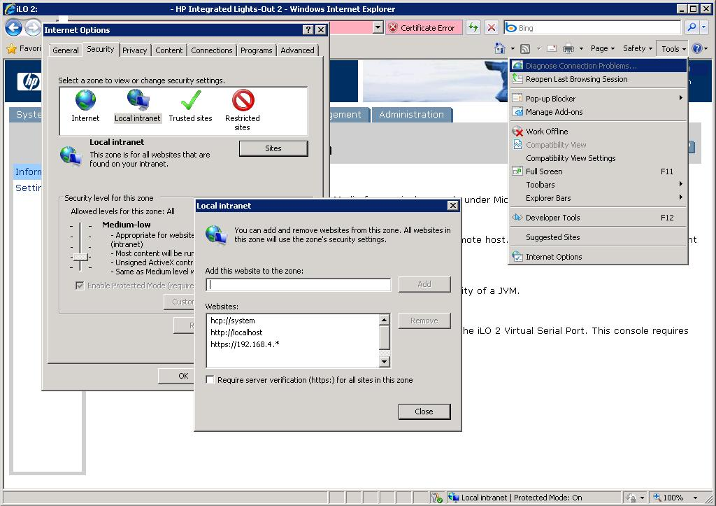 ie8 crashing with remote console - Page 2 - Hewlett Packard