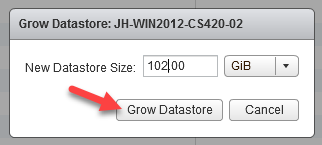Machine generated alternative text: Grow Datastore: JH-WIN2012-CS420-02  New Datastore Size: 102100  Grow Datastor e  Cancel