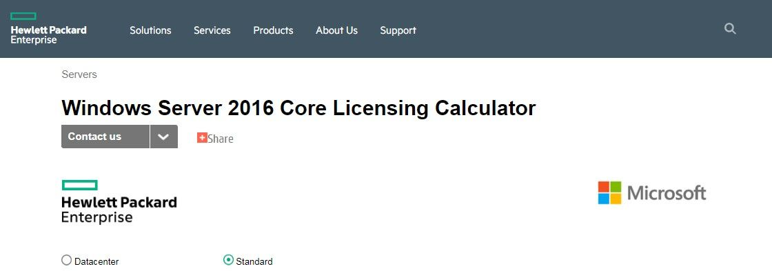 In today's example, we are calculating licensing needs for Windows Server 2016 Standard edition.