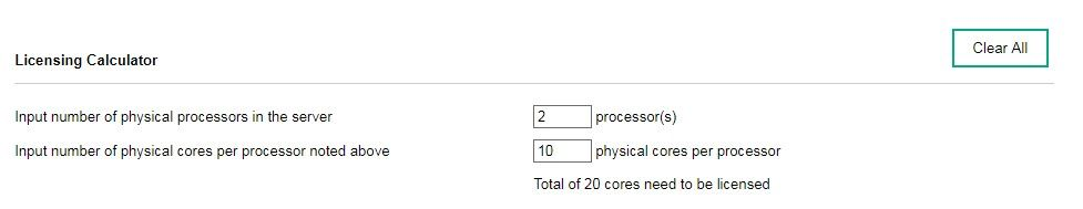 In today's example, we are licensing a server with 2 processors, with a total of 10 cores per processor.