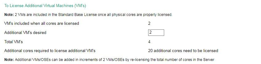 In today's example, we need to license a total of 4 VMs. Because licensing for 2 VMs is included in the Standard Base License (once all of the physical cores are licensed), we will require licensing for 2 additional VMs.