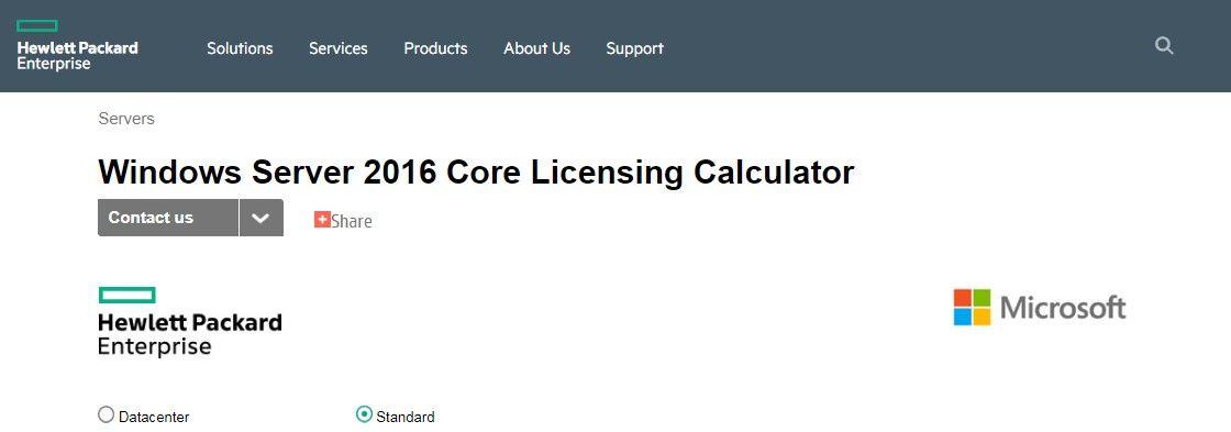 In questo esempio stiamo calcolando le licenze necessarie per Windows Server 2016 Standard.