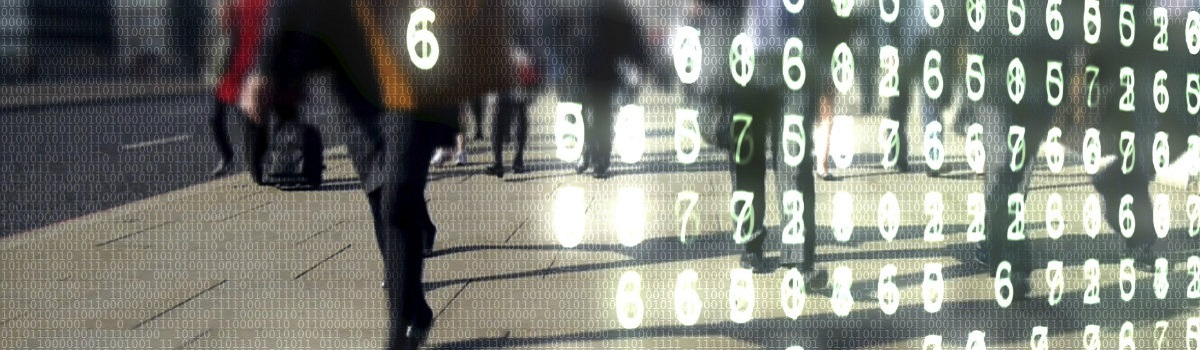 People walking and numbers