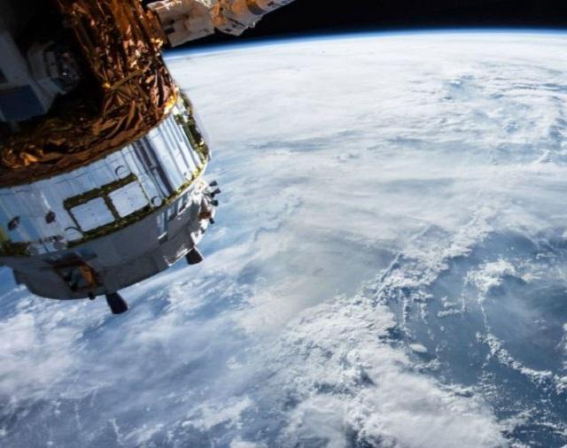 Satellite over snow pack