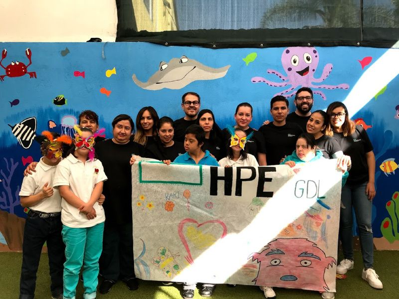HPE employees in Mexico helping out at a children's shelter in Guadalajara
