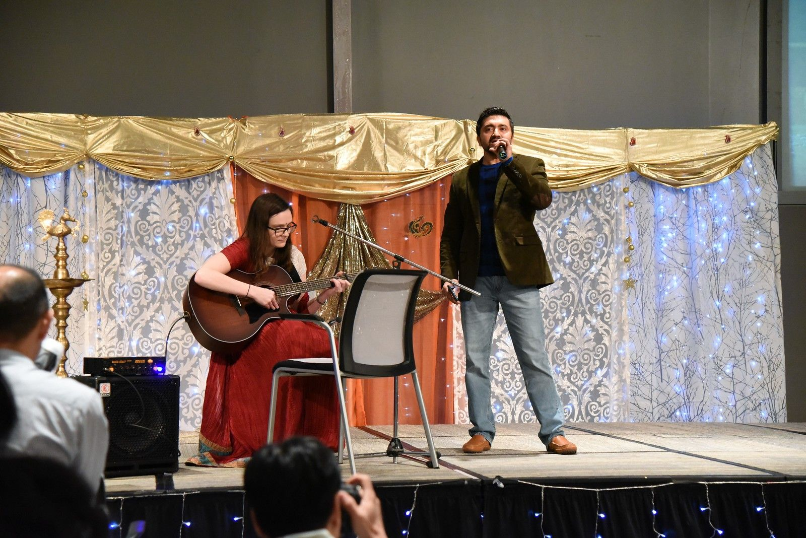 Diwali musical performances included employees singing and playing Indian songs.