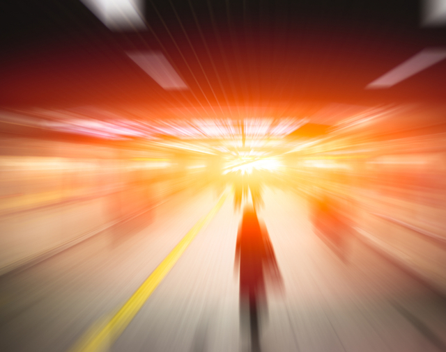 Motorcycles at very high speed in a tunnel