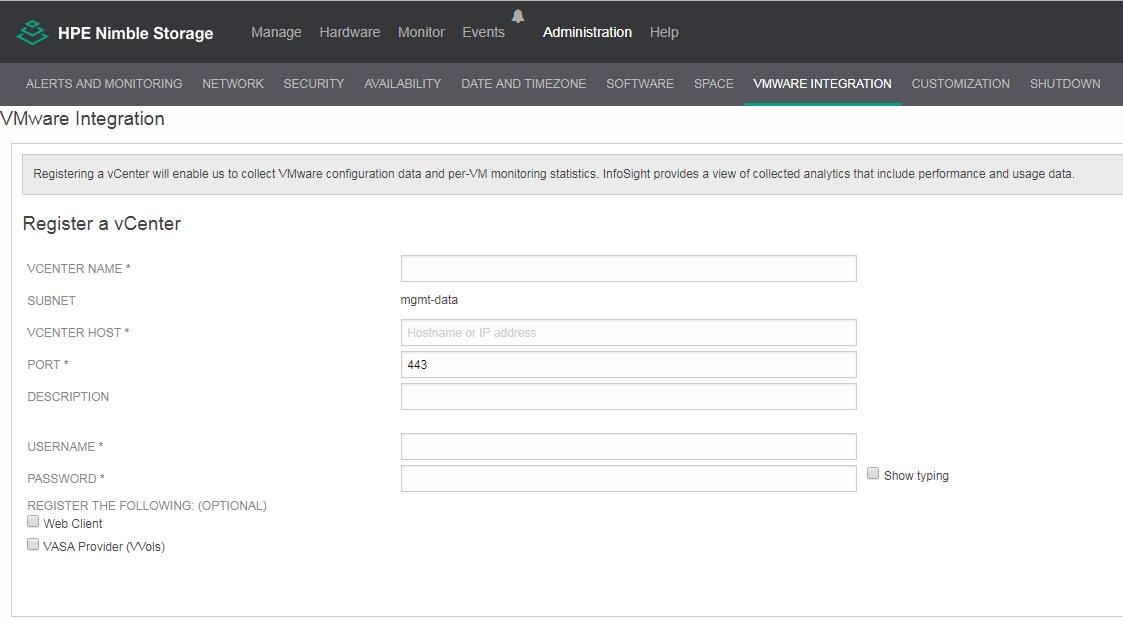 NimOS VMware Integration page
