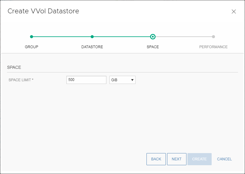 Size of the VVol datastore