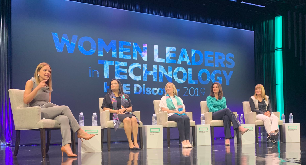 Alessandra joined by Archie Deskus, Jennifer Temple and other leader at HPE Discover 2019 Women Leader in Tech program