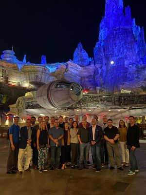 The whole crew exploring Star Wars: Galaxy's Edge!
