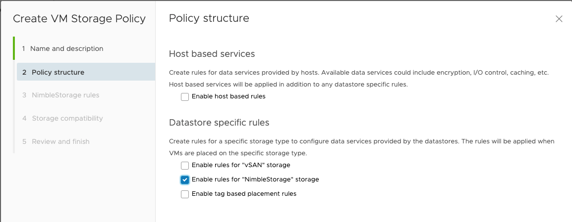 Figure 25: Policy structure for VM Storage Policy
