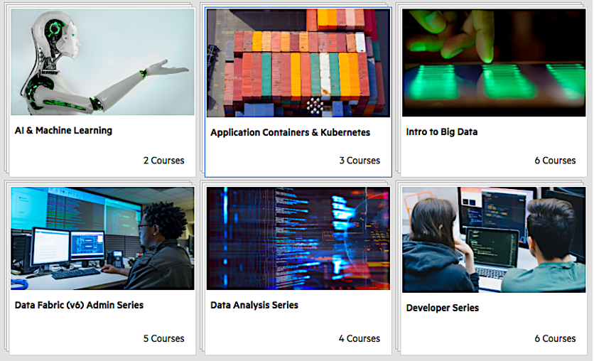 Free training is available: HPE Ezmeral Learn On-Demand. Currently, 6 series offer a variety of courses for different experience levels.