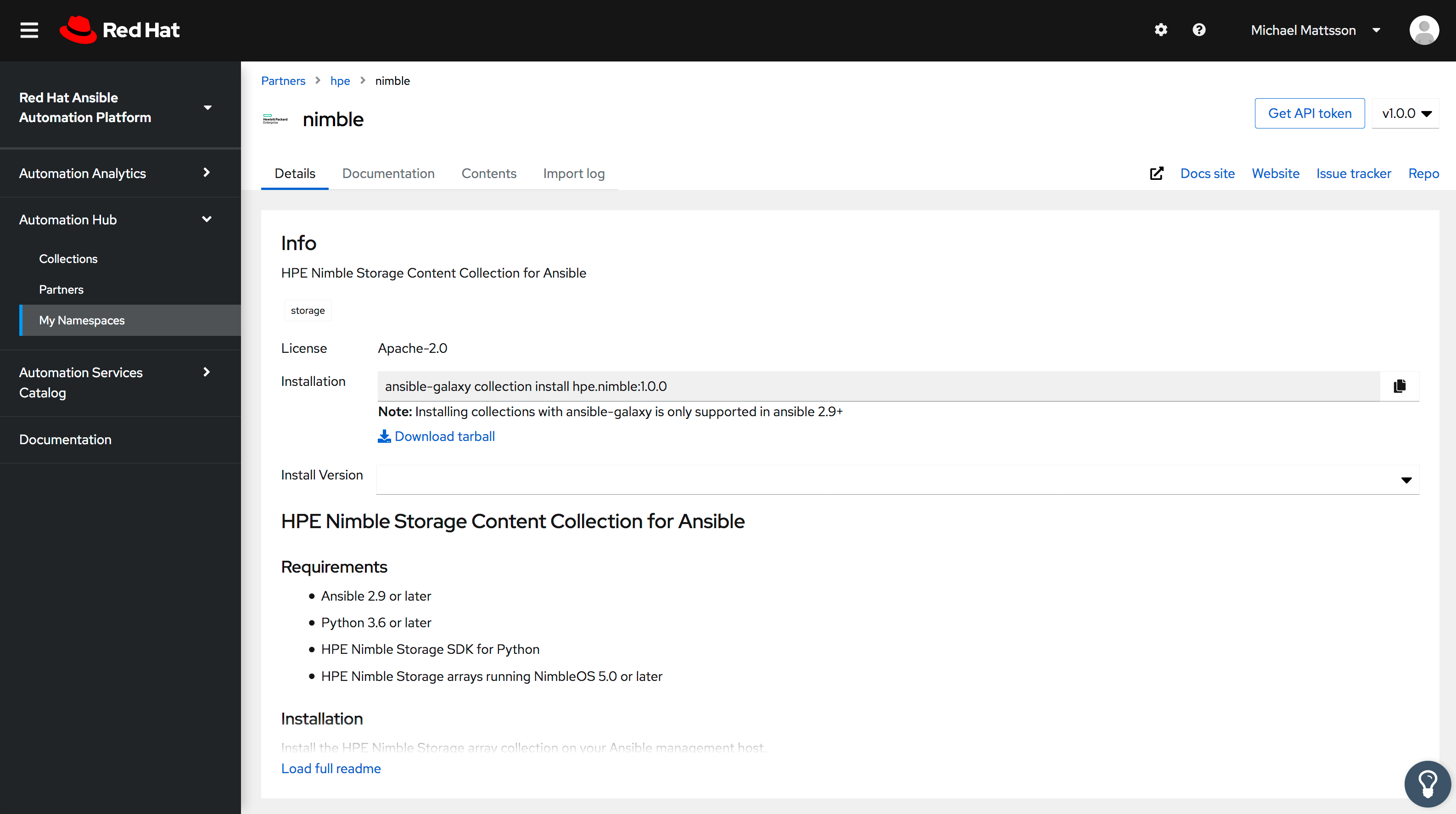 HPE Nimble Storage Content Collection for Ansbile