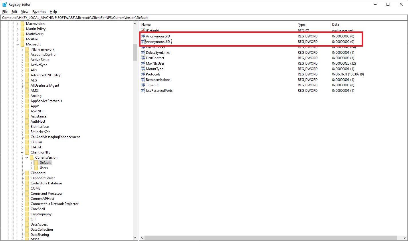Windows Registry Entries