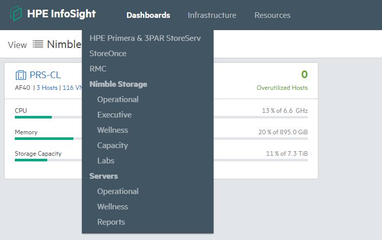HPE InfoSight Dashboard