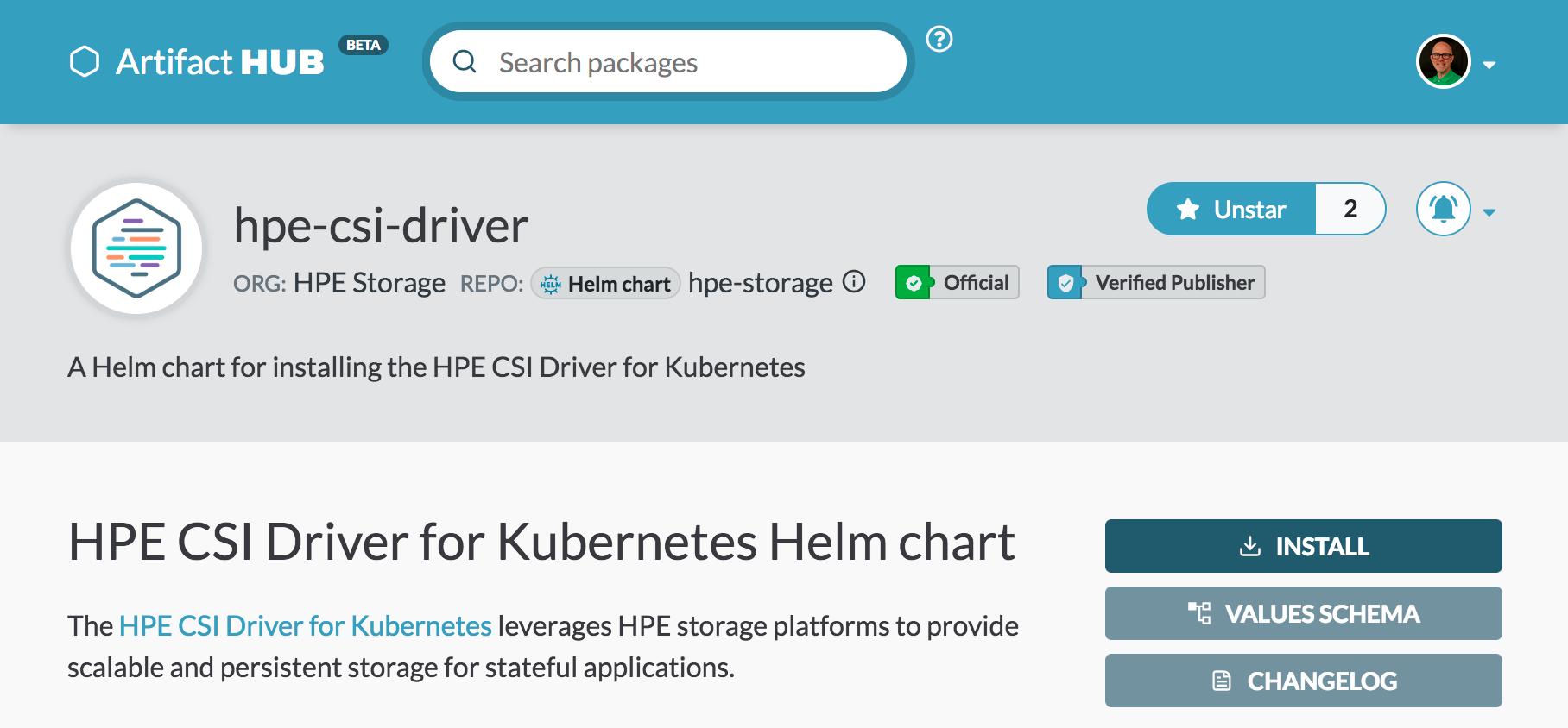 HPE CSI Driver for Kubernetes Helm chart