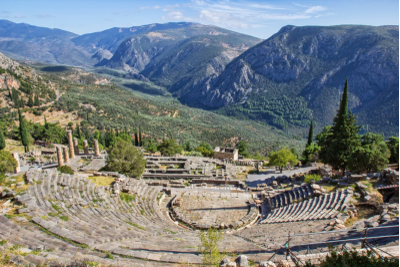 The ancient theatre and Temple of Apollo at Delphi