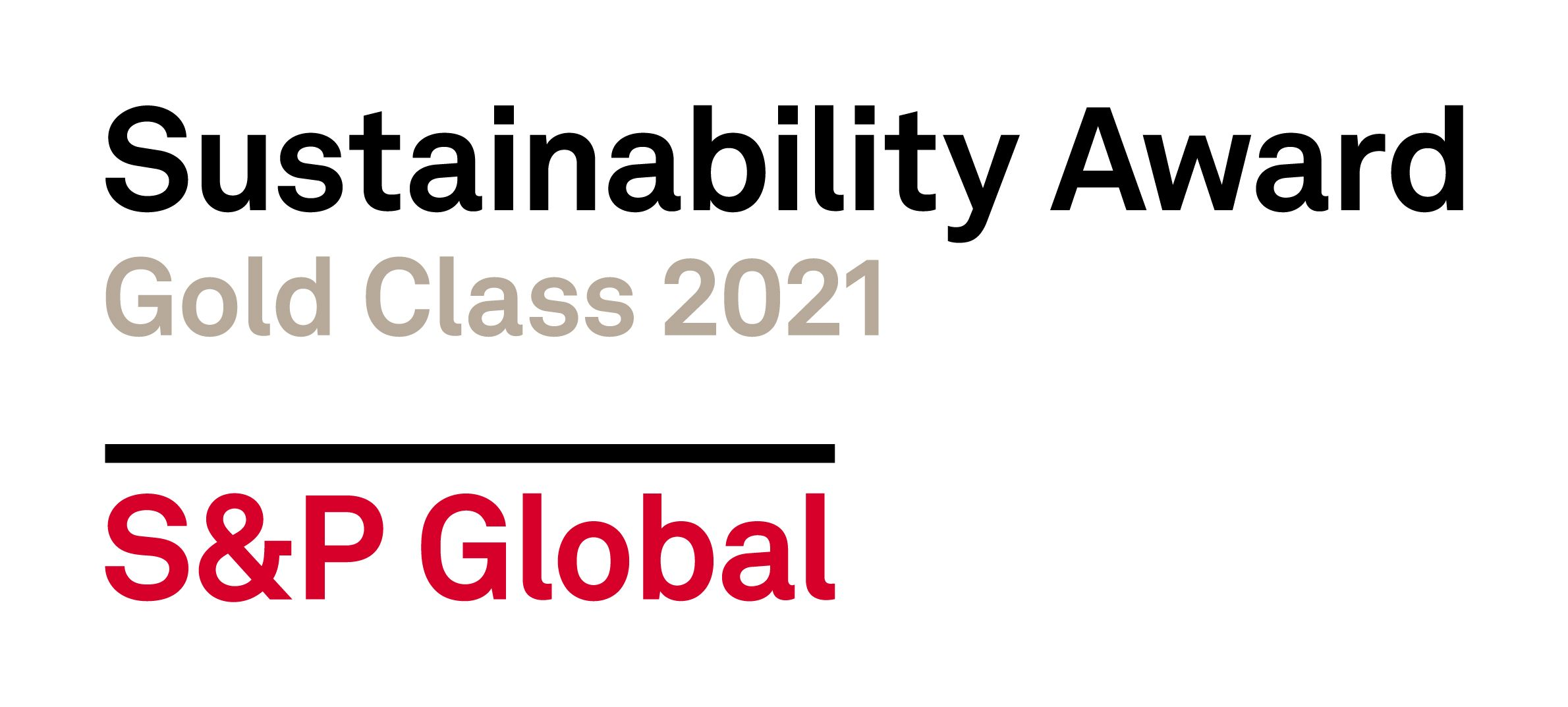 Gold Class Distinction from S&P Global for Sustainability