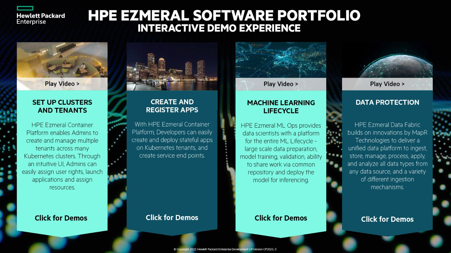 Figure 1 - The HPE Ezmeral Container Platform Integrated Demo Experience