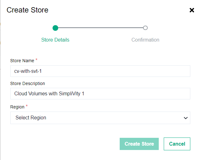 Creating an HPE Cloud Volumes Backup Store