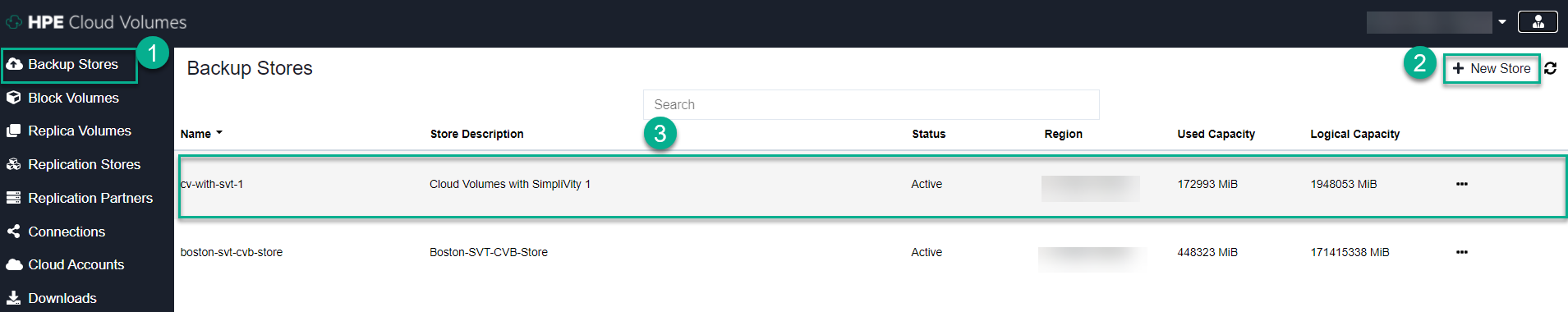 HPE Cloud Volumes Portal showing Backup Stores