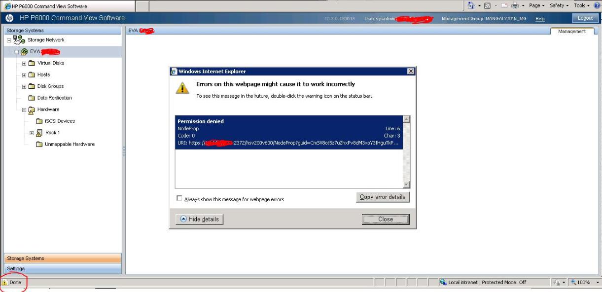 EVA Command View Browser Error