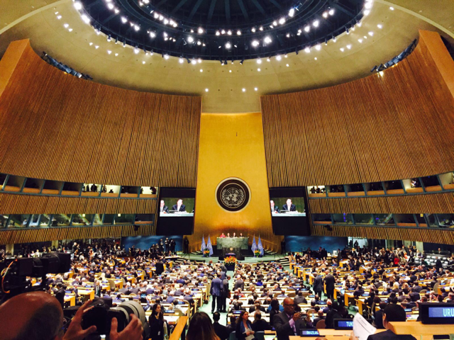 Global leaders gather at the UN to sign the historic Paris Agreement.