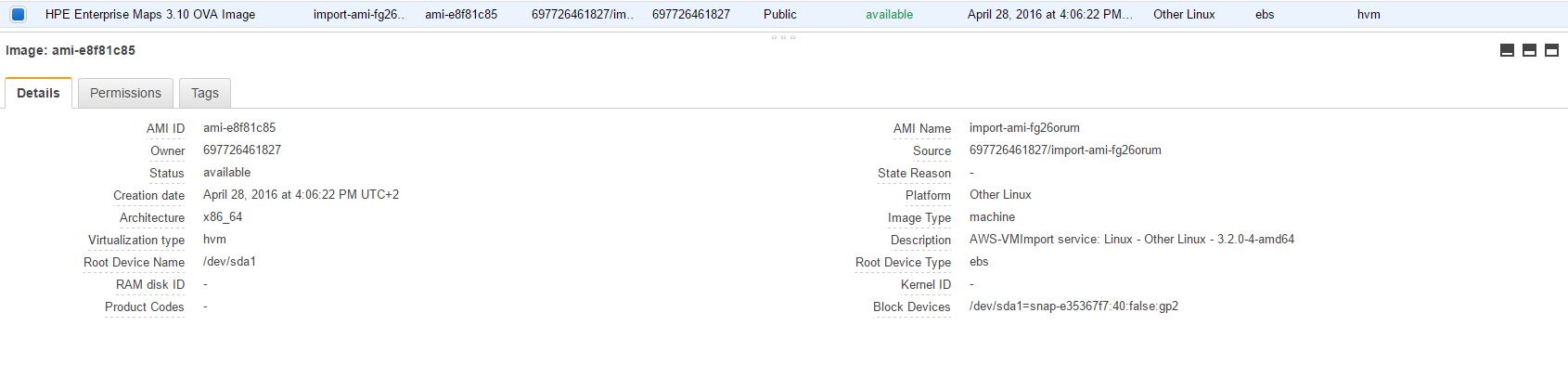 AMI details for Enterprise Maps 3.10