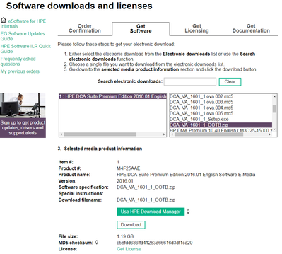 Fig.1 HPE Software Licenses and Downloads Portal
