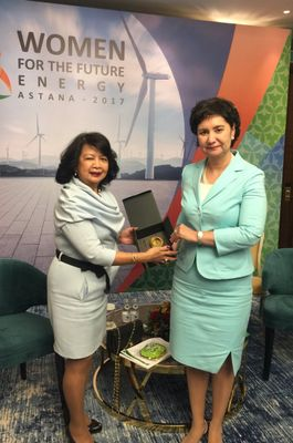 Mrs. Irene Natividad and Mrs. Gulshat Abdykalikova