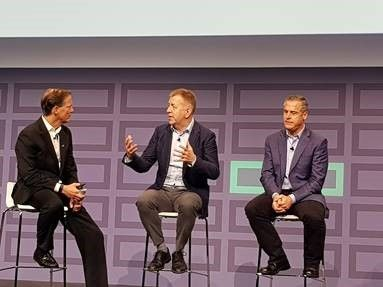 Fra venstre: Bill Philbin, Senior Vice President and General Manager, Storage, Hybrid IT Group Hewlett Packard Enterprise, Terje Wester, CEO Fatland, Peter McKay President and Chief Operating Officer Veeam.