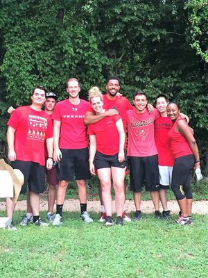 Clesmie lead a kickball program and tournament at the HPE Houston campus.  Here he is with other HPE employees who participated in the program.