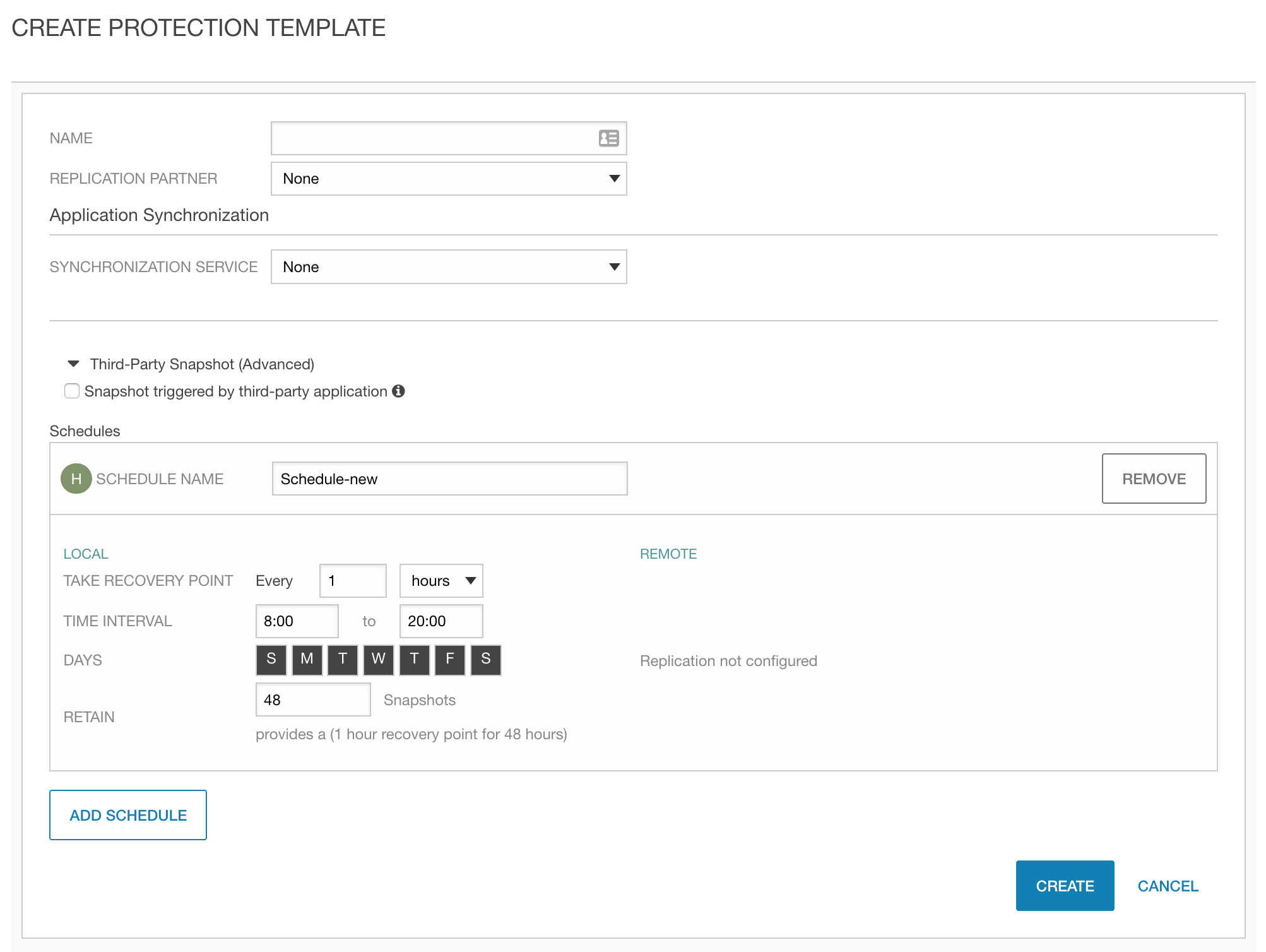 HPE Nimble Storage Protection Templates