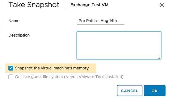 Create VM Snapshot in vCenter Client