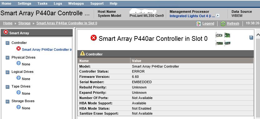 ML350 Gen9 SMH showing storage error, SSA shows he    - Hewlett