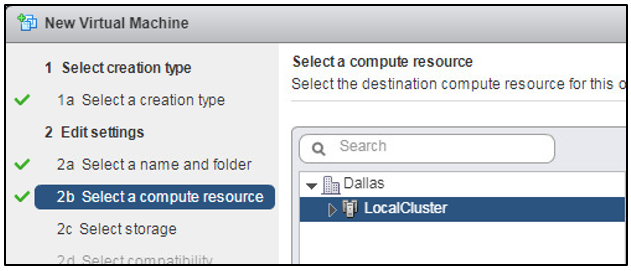 DRS Set to Fully Automated: The VMware cluster is selected as the compute resource. DRS automatically selects an ESXi server to run the VM.