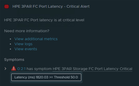 vROPS alert with 1820 ms latency