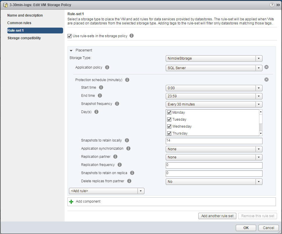 Figure 3: DB log application policy, backup every 30 minutes